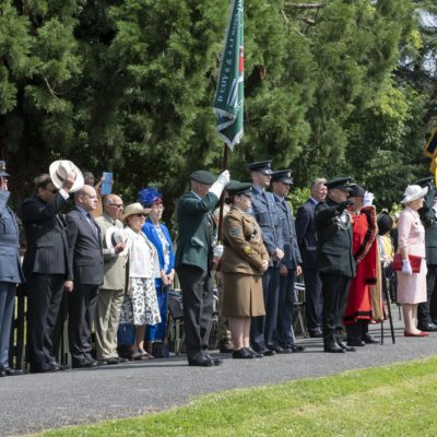 Dignitaries watching the procession on Armed Forces Day